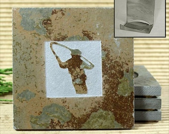 Fly Fishing - Real Etched Slate Coaster Set with Holder