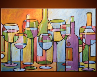 "Amy Giacomelli Painting Abstract Modern Dining Room Decor Wine Glasses  ... 36 x 24 ... ""Time To Relax"""