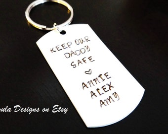Keep Our Daddy Safe Kids Fathers Day Gift Handstamped Key Chain