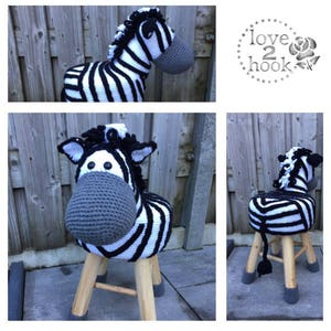 Animal Stool Zebra Crochet