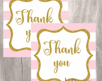 Pink and gold thank you tags, striped pink and white gold thank you favor tags, Instant Download, printable pink and gold gift tags