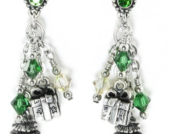 Christmas Tree Earrings - Winter Earrings - Holiday Tree Earrings - Crystal Earrings - Christmas Earrings - Dangle Earrings
