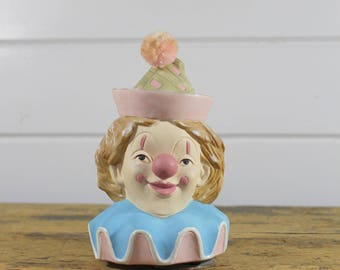 1986 Summit Porcelain Clown Music Box Spins Spinning Turns Plays Memories Song Pastel Clown Happy Clown Decor Clown Memorabilia Vintage Old