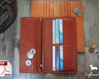 Leather Wallet Pattern (PDF Files): Long Leather Wallet With Zipper Pocket (with how to guide)