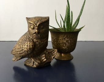 vintage brass owl figurine retro bird on a branch