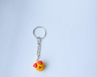 heart eyes emoji key chain