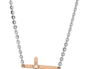 14k Gold Side Cross Necklace