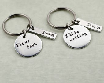 Personalized Couple's Keychains - Engraved Going Away Gift - Long Distance Relationship - Couple Gift Valentine's Gift Seperation Deployment