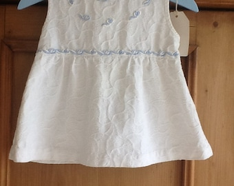 Vintage French cotton dress with blue trim newborn