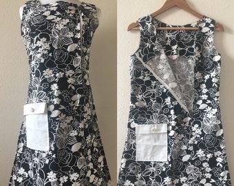 vintage 60's ASYMMETRICAL MOD FLORAL minidress - small, black and white