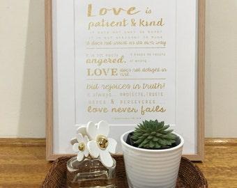 """Glitter Gold- 1 Corinthians 13: 4-8 """"Love Never Fails"""" Print, Wedding Art"""