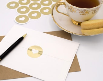 17 Large Envelope Seals in Gold Foil  - Handmade Heart Stickers - Wedding invitations & favours - Baby Shower