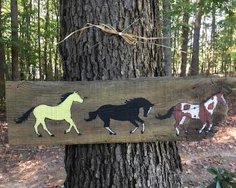 Three Running Horses on 100 Year Old Barn Wood