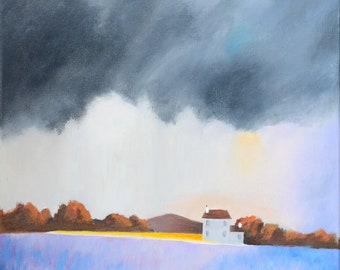 Lavender field under the storm sky painting