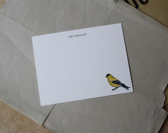 NEW! Goldfinch Custom Notecard Stationery. Thank You, Any Occasion, Personalize Watercolor Print, Set of 10.