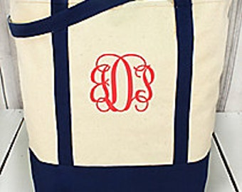 Monogrammed Bags, Large Canvas Boat Tote Bags-Personalized totes or - Personalized Bags - Teacher gifts= Beach Bags- BridesMaid gifts