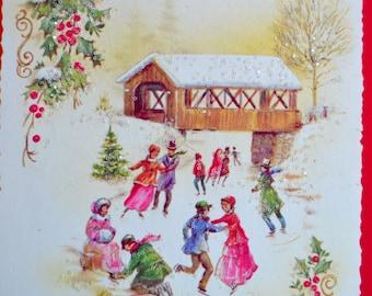 Vintage Christmas Card - Glitter Ice Skating Pond Covered Bridge - Used