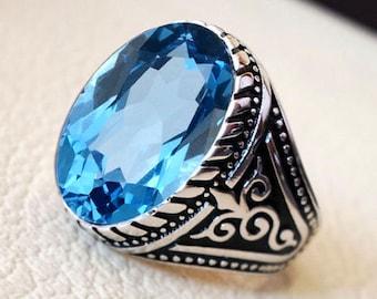 Mens Ring AAA Quality Natural Blue Topaz Gemstone 925 Sterling Silver Designer Wedding  Mens Ring
