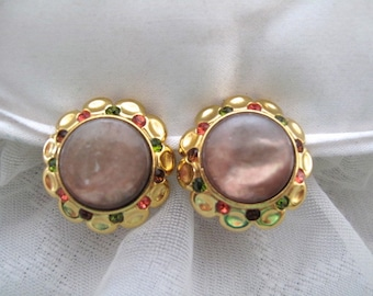 Vintage Mauve Cab Goldtone Clip On Earrings /  Estate Jewelry / Vintage Style Fashion / Mid Century Jewelry / Round / Vintage Accessory