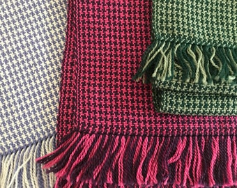 Classic Houndstooth Handwoven Scarf Merino Wool/Tencel