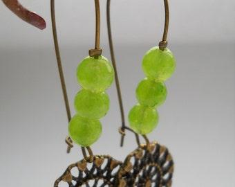 Faceted jade dangle earrings, lime green jade beads, jade jewelry, lime earrings, spring color jewelry, spring earrings, jade earrings