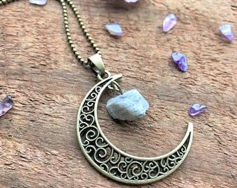 Labradorit Crescent Moon natürlichen Quarz Halskette Bronze böhmische Quarz Kristall Punkt Charms Anhänger Kristall-New-Age metaphysische Heilung
