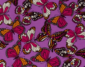 Josephine Kimberling OOP Fabric for Robert Kaufman  -  Hot Blossom Collection  -  Flutterby Kisses AJG-8886-206 in Sunset  -  One Yard