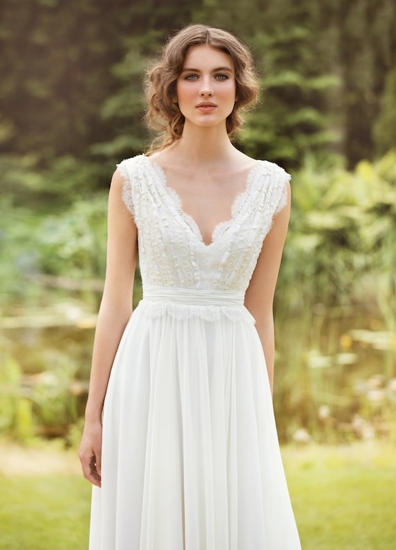 Designer Wedding Dress Bohemian Made From Chiffon French Lace