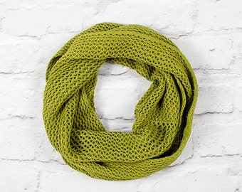 Green Infinity Scarf, Green Cotton Infinity Scarf, Infinity Scarf, Lace Infinity Scarf, Green Circle Scarf, Green Lace Scarf