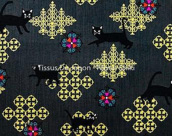Cat fabric - cats design fabric - black cat fabric - fabric black gold - Japanese cat - Japanese fabric - fabric 50x50cm TU103