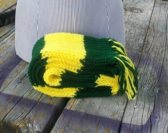 Knitted Yellow and Green Long Scarf Ready to Ship