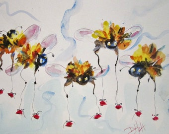 long legged bees 9x12 watercolor painting Art by Delilah
