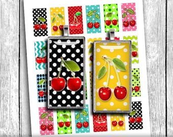 Cherry 1x2 inch Domino printable images for Pendants Digital Collage Sheet - Instant Download