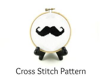Mr. Moustache Cross Stitch Pattern