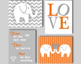 Elephant Nursery, Elephant Wall Art, First We Had Each Other, Love Wall Art, Elephant Print, Nursery Wall Art - Choose Colors - EH5861