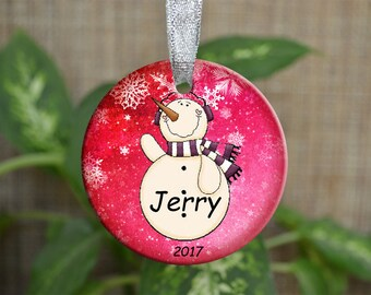 Personalized Christmas Ornament, Baby First Christmas ornament, Custom Ornament, Newborn baby gift, Snowman ornament, Christmas gift. o042