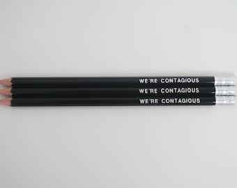 Addams Family-Inspired We're Contagious Quote Pencil Set - Quote Pencils - Pop-culture - Gift - Screen Play