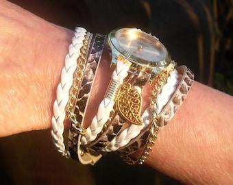 BRACELET WRAP WATCH, leather wrap watch, wrap watch, gold bracelet watches, brown  leather wrist watch, gift women, vegan leather