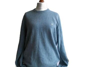Vintage Wool Sweater, Mens Wool sweater, Blue sweater, Pure wool jumper, Soft sweater, Basefield sweater, Finest Lambswool, Size L