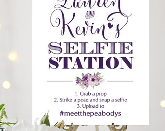 Selfie Station Sign | Various Sizes | Add Your Names and Hashtag | Bella | Eggplant | I Create and You Print
