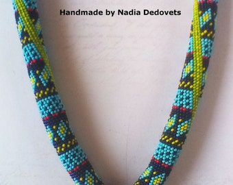 Beaded necklace Indian collection Blue moon Author's pendant Czech beads Gift for her Ethnic Statement Tribal jewelry Boho Hippie Gypsy
