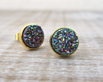 Peacock druzy earrings, rainbow druzy studs, 18k gold vermeil earrings, bridal earrings, bridesmaid gift, peacock wedding, great gatsby, uk