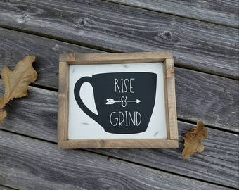Wood Sign, Rise and Grind Sign, Coffee Sign, Coffee Bar Sign, Coffee Mug Sign, Tea Sign, Rustic Sign, Gifts For Her, Funny Sign