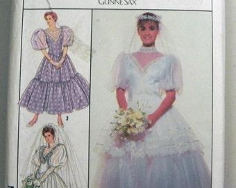 "1980s Gunne Sax Wedding Bridesmaid Prom Dress Puff Sleeves Simplicity 9008 Size 10 Bust 32.5"" UNCUT"
