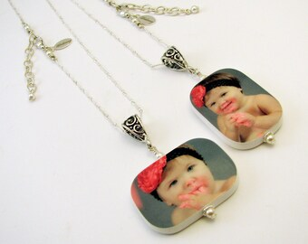 A Jewelry Set for Mom and Nana - 2 Photo Keepsake Pendants - P1RfNx2