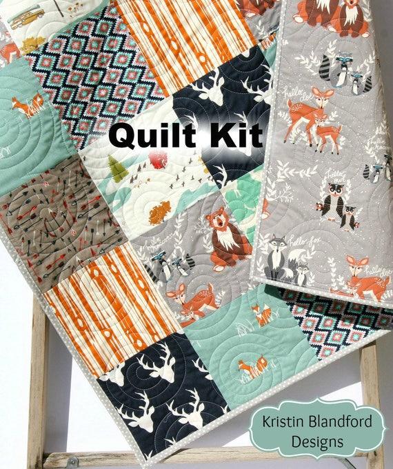 Boy Quilt Kit Woodland Quilt Kit Toddler Quilt Kit Baby Boy