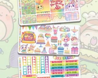 Happy Birthweek Planner Kit    Planner Stickers, Cute Stickers for Erin Condren (ECLP), Filofax, Kikki K, Etc.    PKS12