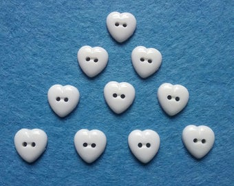 10 x WHITE Heart Shaped Buttons 2-HOLE, 14mm