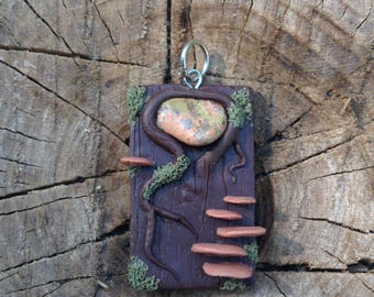Clay Pendant with Stone