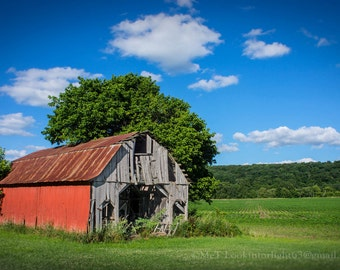 Red Barn Photography, Indiana Rustic Barn, Indiana Landscape Photo Art, Americana Indiana Photo, Heartland Country Art, Brown County Photo